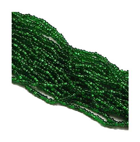 Green Silver Lined Czech 6/0 Seed Bead on Loose Strung 6 String Hank Approx 900 Beads