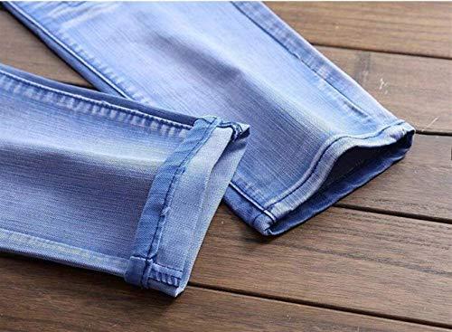 Cher Abbigliamento Blau Locomotiva Cowboy Ssig Nlichkeit Diritti Pantaloni Dei Cotone Sottili Marea D'avanguardia Fori Denim Uomini Jeans Degli Marchio 4zHA1x