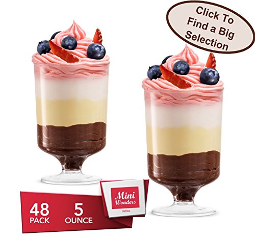 MINI WONDERS CLEAR PLASTIC DESSERT CUPS For Wedding - Hard Clear Disposable Parfait Cups Tall - Footed Small Appetizer Cups With Stem - Miniature Pedestal Plastic Trifle Tumbler - 5 Oz. 48 Ct.