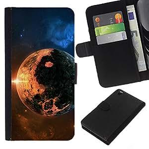 Planetar® Modelo colorido cuero carpeta tirón caso cubierta piel Holster Funda protección Para HTC DESIRE 816 ( Space Planet Galaxy Stars 8 )
