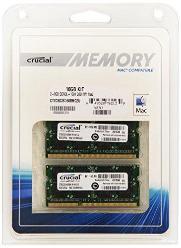Crucial 16GB Kit (8GBx2) DDR3 1600 MT/s Arbeitsspeicher ((PC3-12800) SODIMM 204-Pin Speicher für Mac - CT2C8G3S160BMCEU)