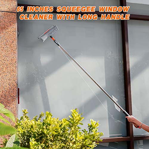 Window Squeegee Cleaning Tool 65'' Squeegee Window Cleaner with Long Handle and Extra Pad for High Window Cleaning