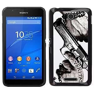 Design for Girls Plastic Cover Case FOR Sony Xperia E4 Veritas Gun Truth Slogan Quote Man Hands OBBA