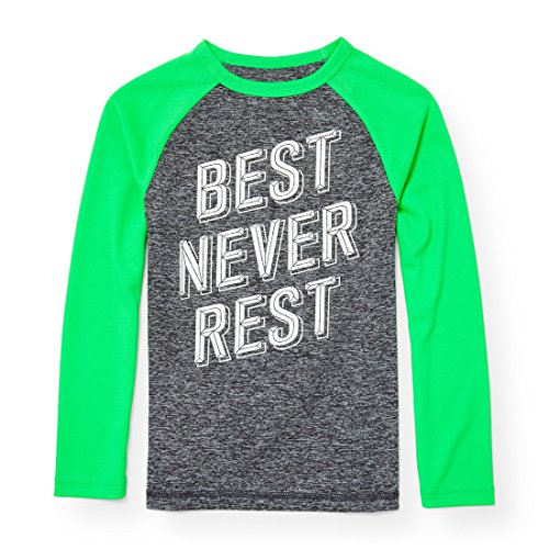 Boys Golf Shirt Top (The Children's Place Big Boys' Long Sleeve Athletic Marled Knit Top, Neon Golf Green 94060, M (7/8))