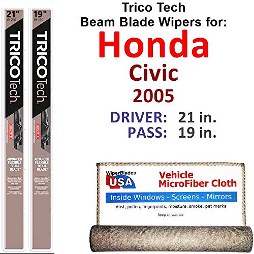 2005 Civic Special Edition - Beam Wiper Blades for 2005 Honda Civic LX Special Edition Driver & Passenger Trico Tech Beam Blades Wipers Set of 2 Bundled with Bonus MicroFiber Interior Car Cloth