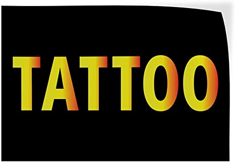 Set of 2 Decal Sticker Multiple Sizes Tattoo Business Style C Business Tattoo Outdoor Store Sign Black 54inx36in
