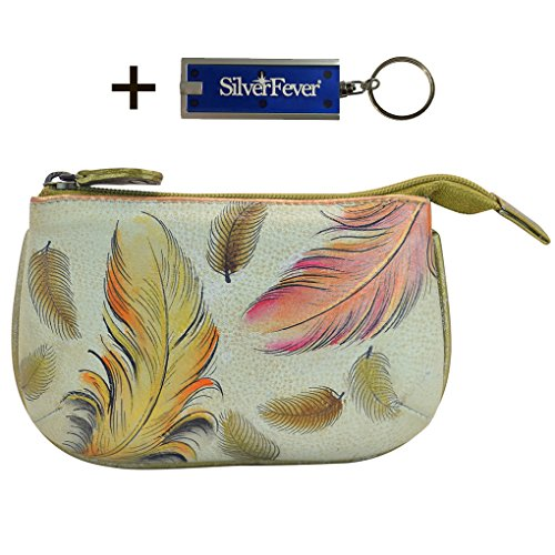 Anuschka Medium Coin Purse,Handpainted, With Key Foab, Gift Boxed (Floating Feathers Ivory)