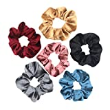 6PCS Velvet Hair Scrunchies Hair Bands Ties Ponytail Holder Hair Accessories (Mixed Colors)