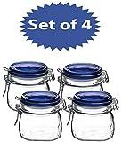 Bormioli Rocco Fido Square Jar with Blue Lid, 17-1/2-Ounce (Set of 4)