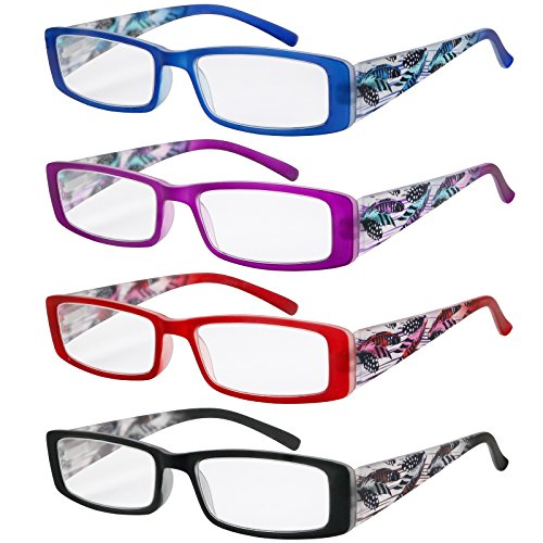 Reading Glasses Women 4 Pack Stylish Design Readers Great Value Quality Glasses for reading - Ladies Stylish Glasses