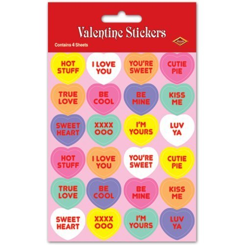 (Candy Heart Valentine's Day Plus-Pak Stickers 4 Sheets Per Pack)