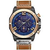 ストップウォッチ 腕時計 日付 クロノグラフ 時計 メンズ アナログ レザーバンド curren watch 8287
