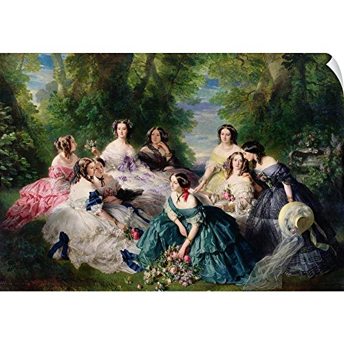 """CANVAS ON DEMAND Empress Eugenie (1826-1920) Surrounded by her Ladies-in-Waiting, 1855"""" Wall Peel Art Print, 48""""x32"""""""