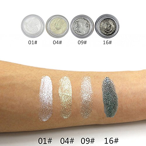 6 different golden rose color glow glitter mermaid shimmer eyeshadow highlighter (4 PC silver pack)