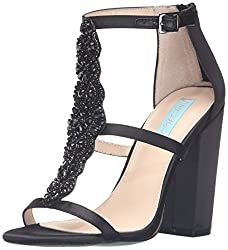 Blue by Betsey Johnson Women's Sb-Lydia Dress Sandal, Black Satin, 5.5 M US