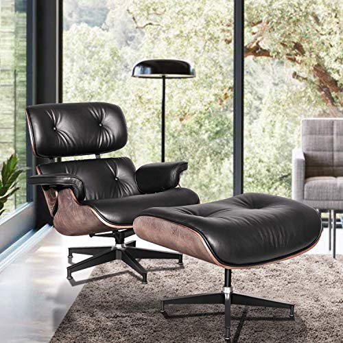 Lounge Chair and Ottoman, Mid Century Modern Classic Design, Natural Leather, High-Density Wood (Classic Black Ash)