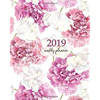 2019 Weekly Planner: Calendar Schedule Organizer Appointment Journal Notebook and Action day, pink peony and white tulip flowers on white background art design