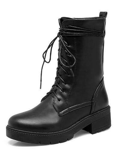 Easemax Damen Modisch Lace Up High Top Rund Zehe Biker Boots Kurzschaft Stiefel Weiß 38 EU 2LixoCd0