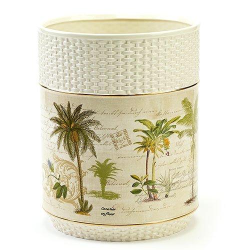 Avanti Linens Colony Palm Waste Basket, Ivory (Palm Tree Wastebasket)