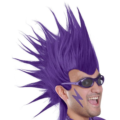 Amscan Party Perfect Team Spirit Crazy Mohawk Wig (1 Piece), Purple, 11 x 8