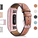 Hotodeal Leather Band Compatible Charge 3, Classic Replacement Genuine Leather Bands Metal Connectors Women Men Small Large Size Silver, Rose Gold, Black