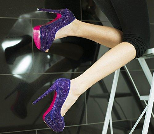 ROSELIGHT Crystal Peep Toes in Schwarz Rot Blau Türkis Gold Violette mit Rosa Sohle Chrome Perlen