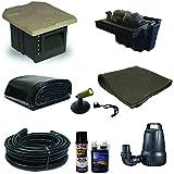 10 x 15 PVC Pond Kit 16 Inch Waterfall Pondbuilder Skimmer 2100 GPH Pump PVCXSH4