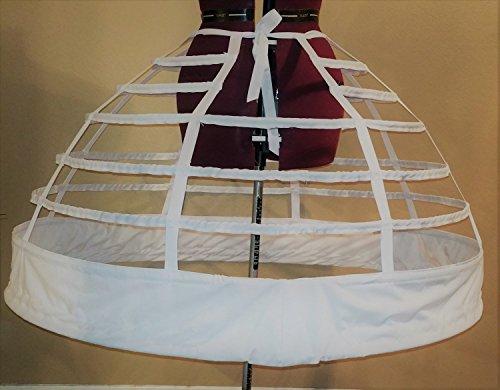 "7 Hoop 126"" Reproduction Civil War Cage Crinoline Petite Regular Ladies 10 12 14 16 18 20 22 Period Correct Hoop Skirt Gown 1855 1856 1857"