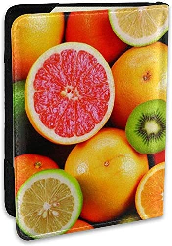 Lemon Orange Kiwi Fruit Fashion Leder Passhalter Cover Case Reise Brieftasche 6,5 In