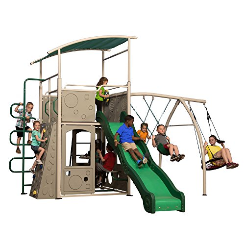 astle Grey Metal Swing Set and Outdoor Playground ()