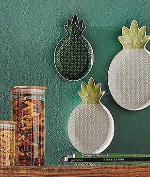 KASA Ananas-Keramikschale f/ür Modeschmuck und Schmuckst/ücke 13x22 Zentimeter Gr/ün