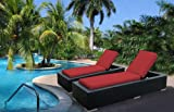 Ohana 2-Piece Outdoor Wicker Patio Furniture Chaise Lounge Set with Weather Resistant Cushions, Red  (PN7023R) For Sale
