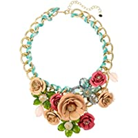 Voberry Fashion Women Bib Flower Crystal Pendant Statement Chain Chunky Choker Necklace Jewelry (Khaki)
