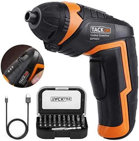 Cordless Screwdriver, Tacklife SDP50DC Electric Rechargeable Screwdriver 3.6V 2000mAh Li-ion with Battery Indicator with 31 Free Accessories for Home DIY and Fit for Ladies, Newbies and Experienced