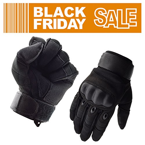 GEREE Motorcycle Gloves Full Finger Touchscreen Cycling bike Non-slip windproof Gloves and Men's Hard Knuckle for Outdoor Sports Military Tactical Airsoft Smart Gloves Black (L)