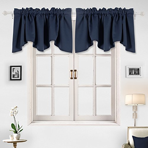 Deconovo Solid Color Rod Pocket Curtains Blackout Valance Window Treatments Scalloped Valance for Kids Room 52 X 18 Inch Navy Blue 1 Panel