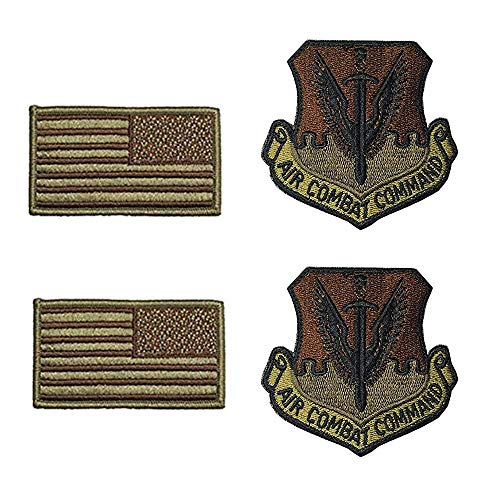 US Air Force Air Combat Command OCP Spice Brown Patch and Flag Bundle ()