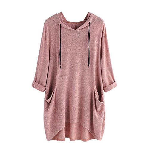 (KFSO Women's Pullover Hooded Sweatshirt Long Sleeve T Shirt Thin Tunic Top with Pockets (Pink, M))