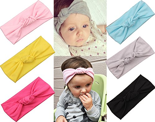 Baby Girl Headbands With Bows Perfect for Newborns/Toddlers with Knotted Bow Cute Fashion Headwrap Headwear, Medium, 6-Pure Colors