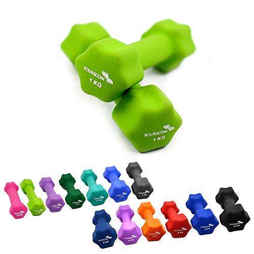 2er Set FOURSCOM® 2x 1kg Neopren Hanteln Kurzhanteln Gymnastikhanteln, 13 verschiedene Gewichte und Farben zur Auswahl