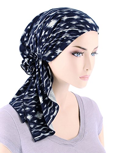 The Bella Scarf Chemo Turban Head Scarves Pre-Tied Bandana For Cancer Navy Blue Abstract Ikat