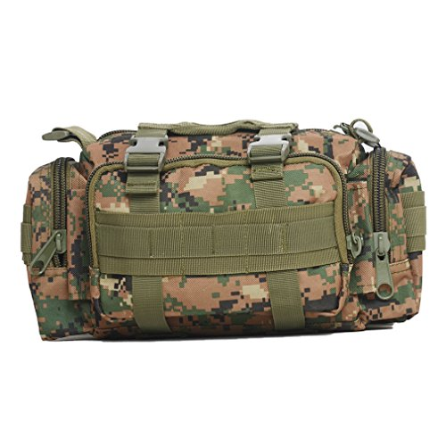 Tactical Waist Pack Deployment Bag Military Molle Bicycle/Motorcycle 3P Waterproof Fanny Packs Camera Bag Camo EDC Utility Pouch Heavy Duty with Shoulder Strap Hand Carry (Forest Digital Camouflage)