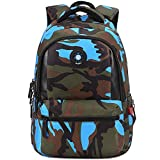 Comfysail Camouflage Printed Primary School Nylon Backpack - Ideal for 1-6 Grade School Students Boys Girls Daily Use and Outdoor Activities (Medium, Blue)