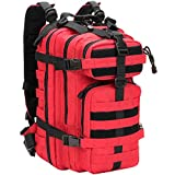 WolfWarriorX Small Military Tactical Assault Hiking Camping Fishing Trekking Traveling Extreme Water Resistant Rucksack Molle Bug Out Bag Laptop Backpack Black (Red)