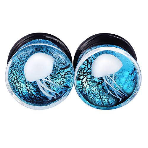 Lianrun 1Pair White Jellyfish Light Blue Glass Ear for sale  Delivered anywhere in USA