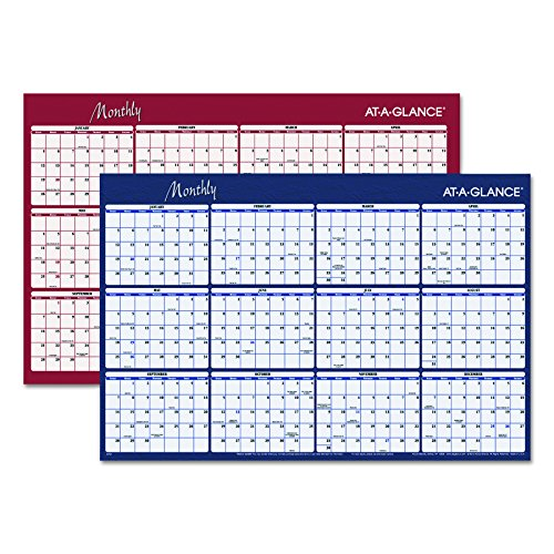 AT-A-GLANCE A152 Reversible Horizontal Erasable Wall Planner, 48 x 32, (Monthly Visual Project Wall Planner)