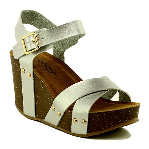 - Women's Platform Wedge Sandals Comfort Thick Cork Board Sandal Buckle Summer Shoes MR05 Silver 8.5