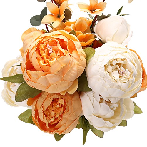 Fake Artificial Flowers Vintage Silk Peony Flowers Bouquet for Home Wedding Centerpieces Décor and DIY,Orange White