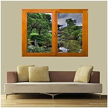 TATOUTEX Stickers Trompe l oeil Ventana jardín Zen, L 140cm x H 100cm: Amazon.es: Hogar