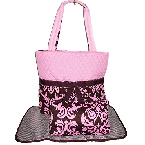 Belvah Diaper Quilted Fabric Brown Pink Dual Shopping Bag Tote Set